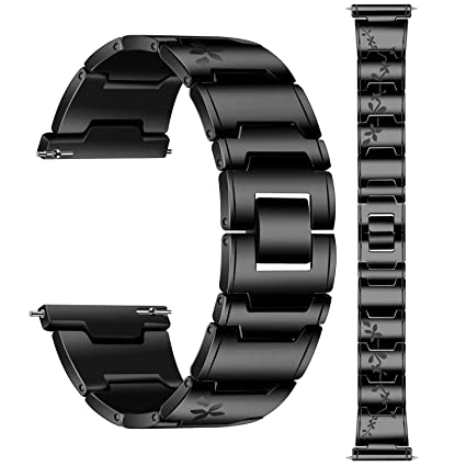 Lwsengme Samsung Galaxy Watch (46mm) Bands, 22mm Stainless Steel Watch Bands for Samsung Gear S3 Frontier/Classic & Amazfit Pace Smartwatch (B-Black)