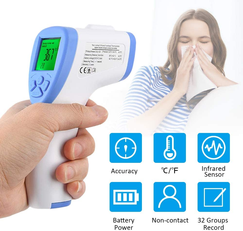 Digital Thermometer Non Contact Thermometers Accurate Instant Reading Infrared Thermometers with Fever Alert Function for Baby Kids Adults Home Office Forehead Thermometer