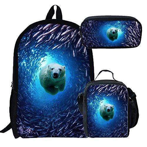 Coloranimal Underwater Animal Bear Printed School Bag+Lunch Box+Pencil Case