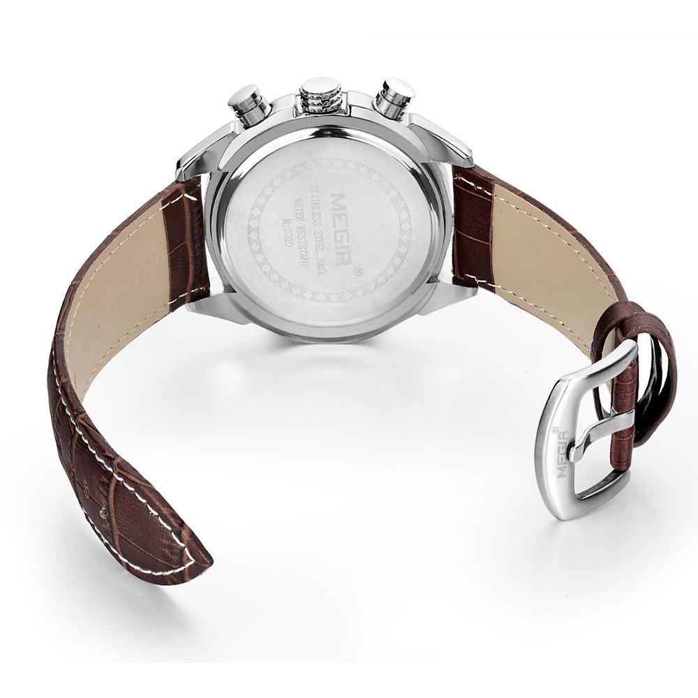 fef6184c5be61 Brown MEGIR Men Relogio Masculino Chronograph Watch Genuine Leather   Amazon.ae  Tech-News uae