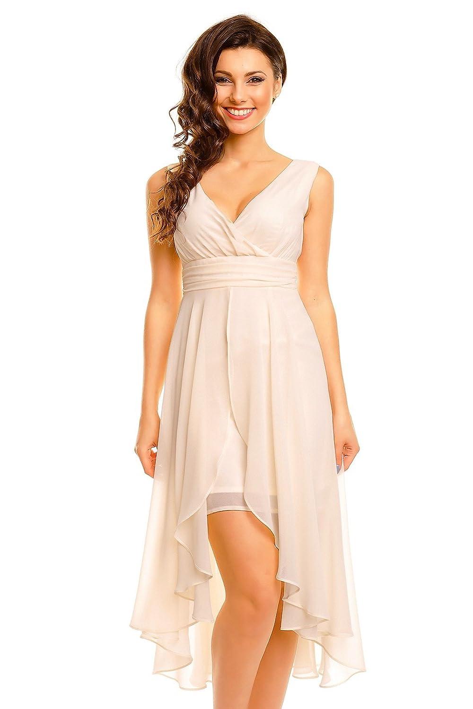 Chiffon Kleid mit V-Ausschnitt - Vokuhila Stil - ärmelos - HHS256 ...