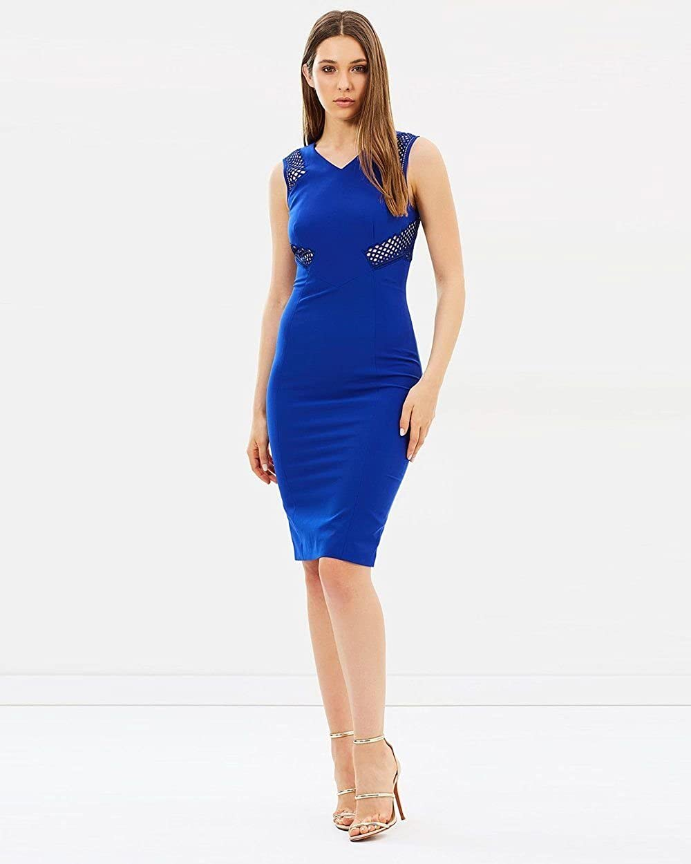 b3ed7e9f2bb Karen Millen Womens Blue Lace Panel Pencil Dress Size 12: Amazon.co.uk:  Clothing