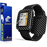 ArmorSuit MilitaryShield - Pebble Time Screen Protector [Full Coverage] + Black Carbon Fiber Full Body Skin / Front Anti-Bubble Ultra HD Shield w/ Lifetime Replacements