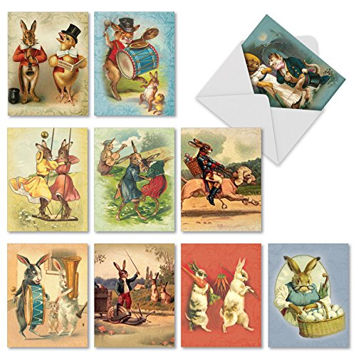 - 10 'Funny Bunnies' Thank You Note Cards with Envelopes 4 x 5.12 inch, All Occasion Cards Featuring Rabbits in Vintage Clothing, Assorted Stationery for Weddings, Holidays, Birthdays M2345TYG