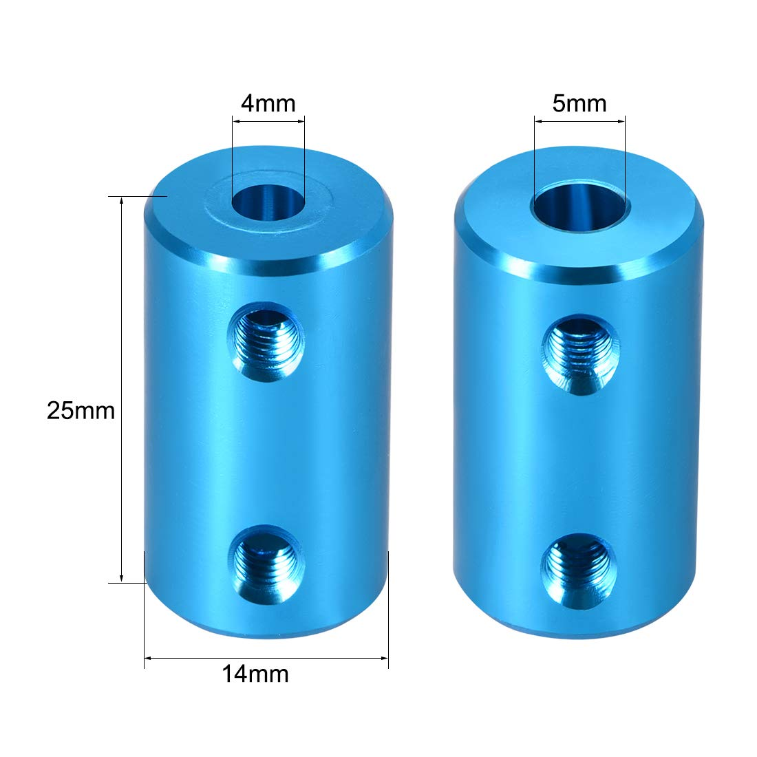 Acoplamiento de eje de 8mm a 10mm Azul de 2 Piezas sourcing map Acoplador de giro r/ígido del motor autom/ático L25xD16