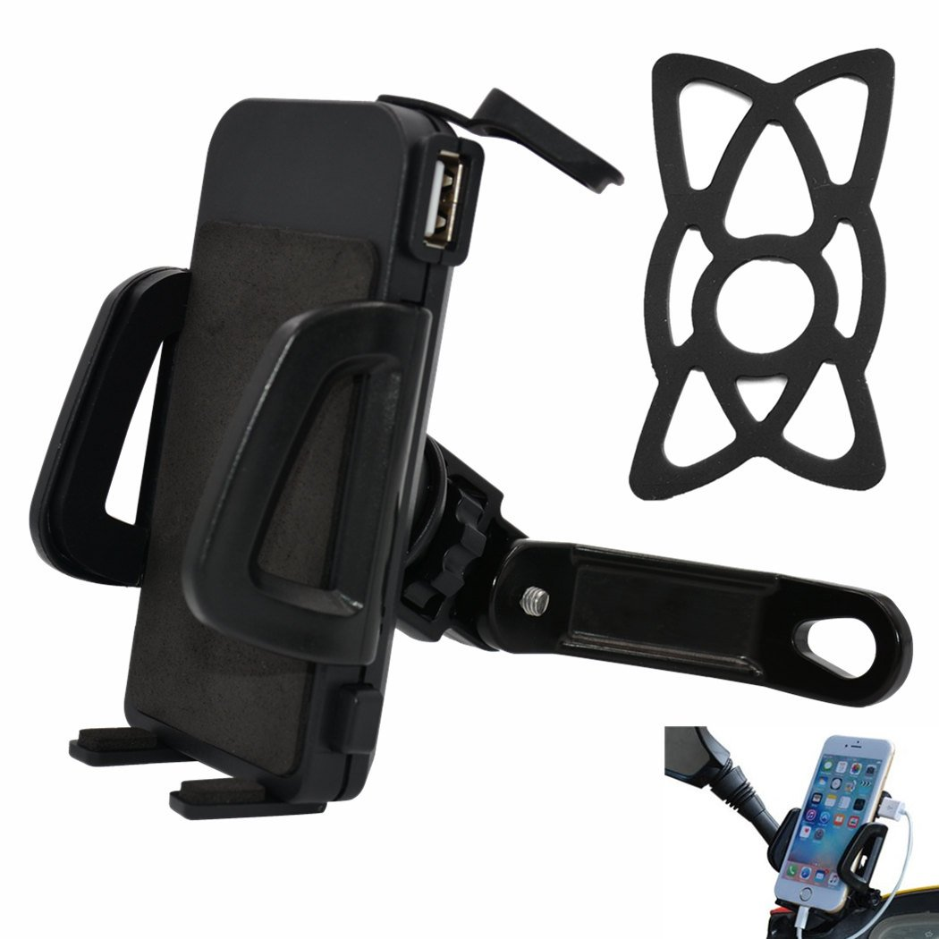 PROCYMD 2 in 1 Waterproof 12V to 24V Motorcycle Cell Phone Mount Holder 5V 2.4Amp USB Charger/Power Switch/ 3.3FT Power Cable/Safety Bands/Rearview Mirror Mount (Black) E-Joy Electronics EJ-MC6R