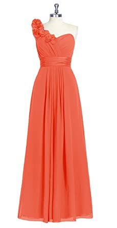 Harshori Prom Womens One Shoulder Flowers Long Prom Dress with Flowers Orange Red US8
