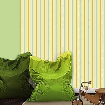 Feine Streifentapete U0026quot;Eleganzu0026quot; In Grün Gelb   Vlies Tapete  Streifen   Klassische Gestreifte