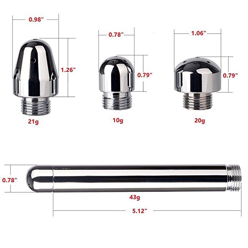 Heads Aluminum Enema Nozzle Shower Vaginal Anal Douche System Cleaner Vaginal Anal Cleaner for Men Women