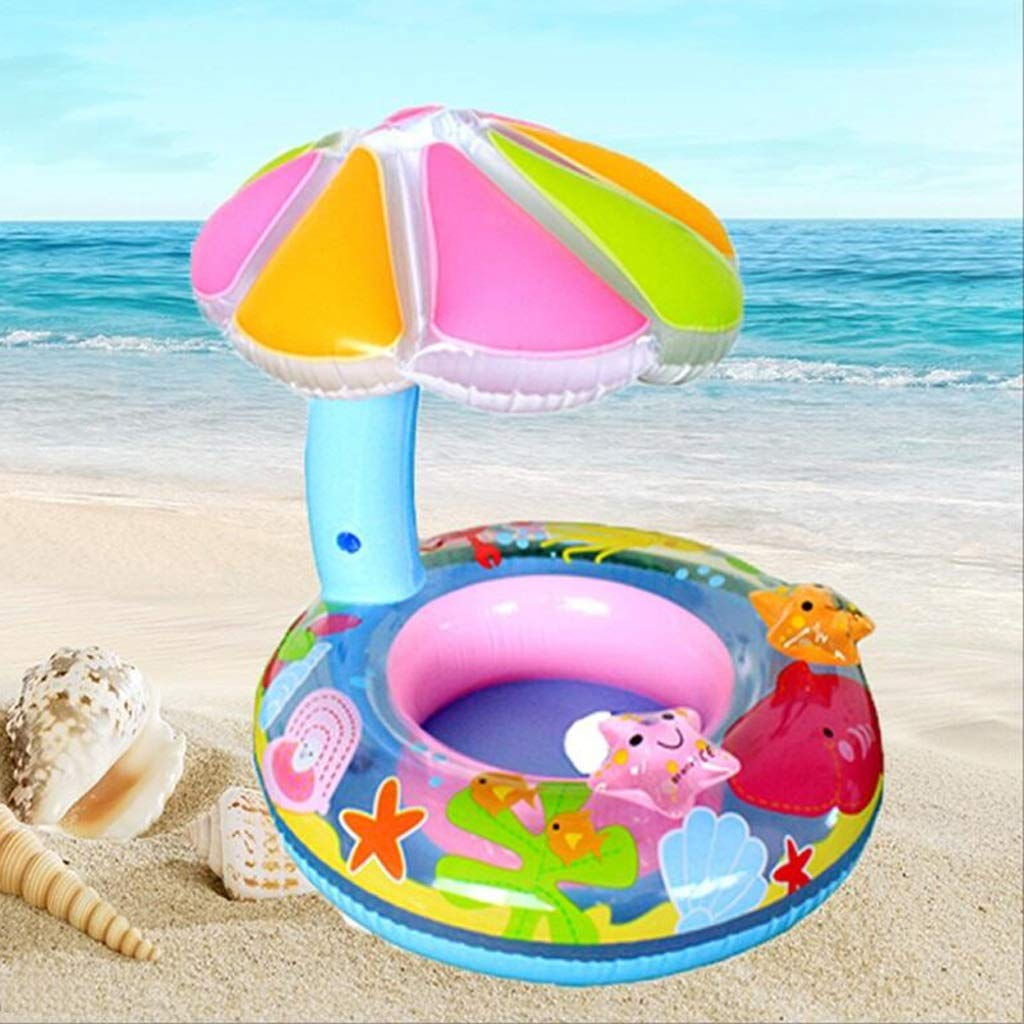 B Thickened Swim Ring With Steering Wheel Swimming Ring With Armrest Sunscreen Swimming Pool Toys QYLOZ (color   B)