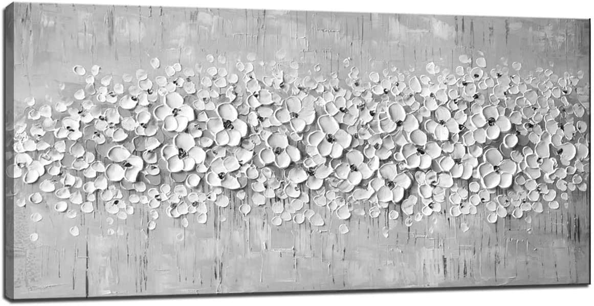 Hand-painted oil painting Canvas Texture Palette Knife White Flowers Paintings For Modern Home Decor Wall Art Acrylic Canvas Painting (White Flower, Frameless - 24X48 Inches)