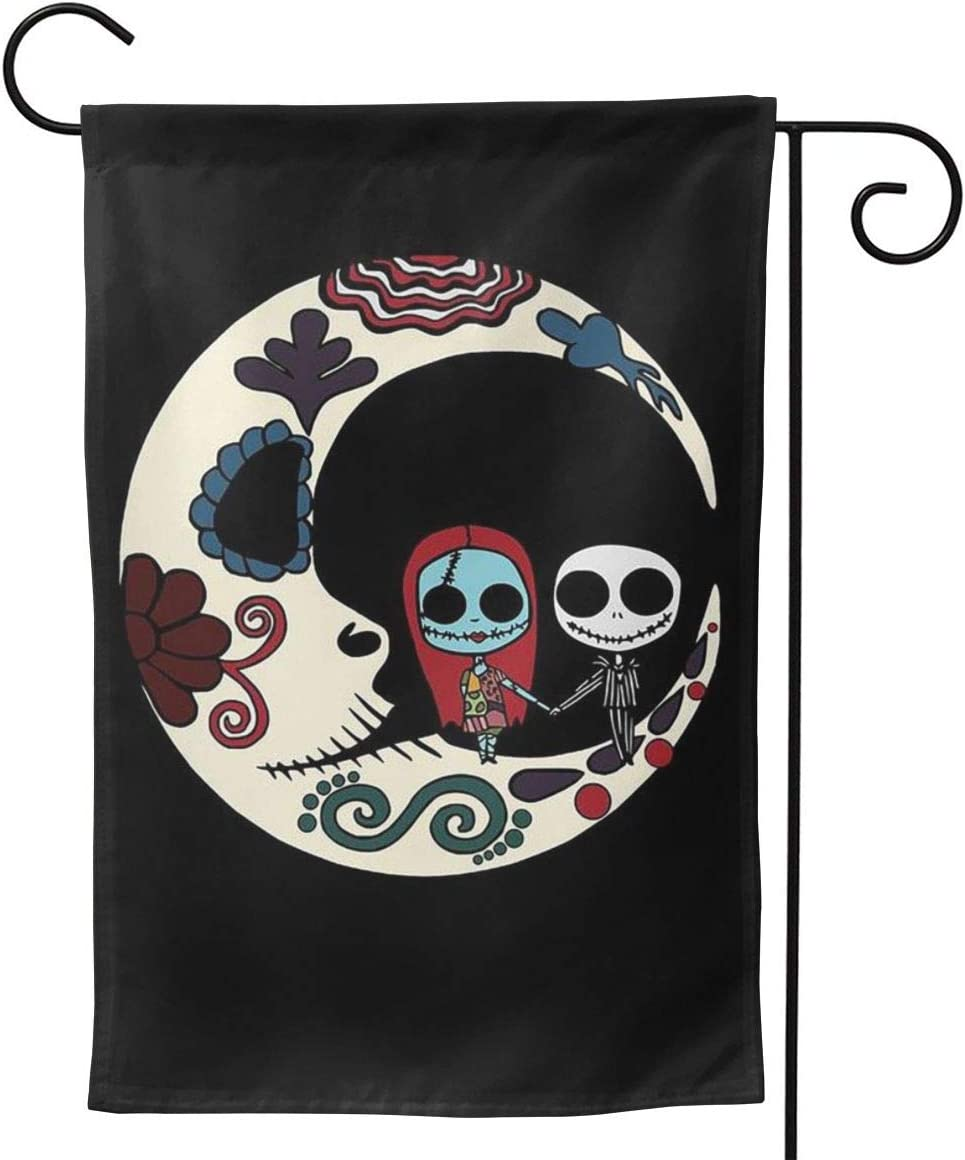 WOMFUI Jack and Sally on Sugar Skull Moon Garden Flag Double Sided Outdoor Yard Sign