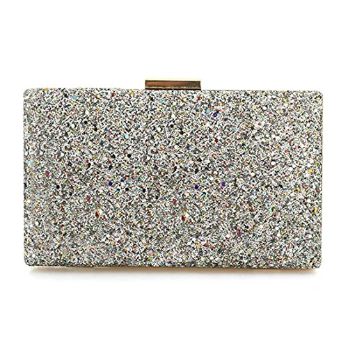 Bags Purse Sparkling Clutch Bride Glitter Handbag Party Evening Prom Dance Elegant Evening Wedding For Silver Bling 5wwXqrUA
