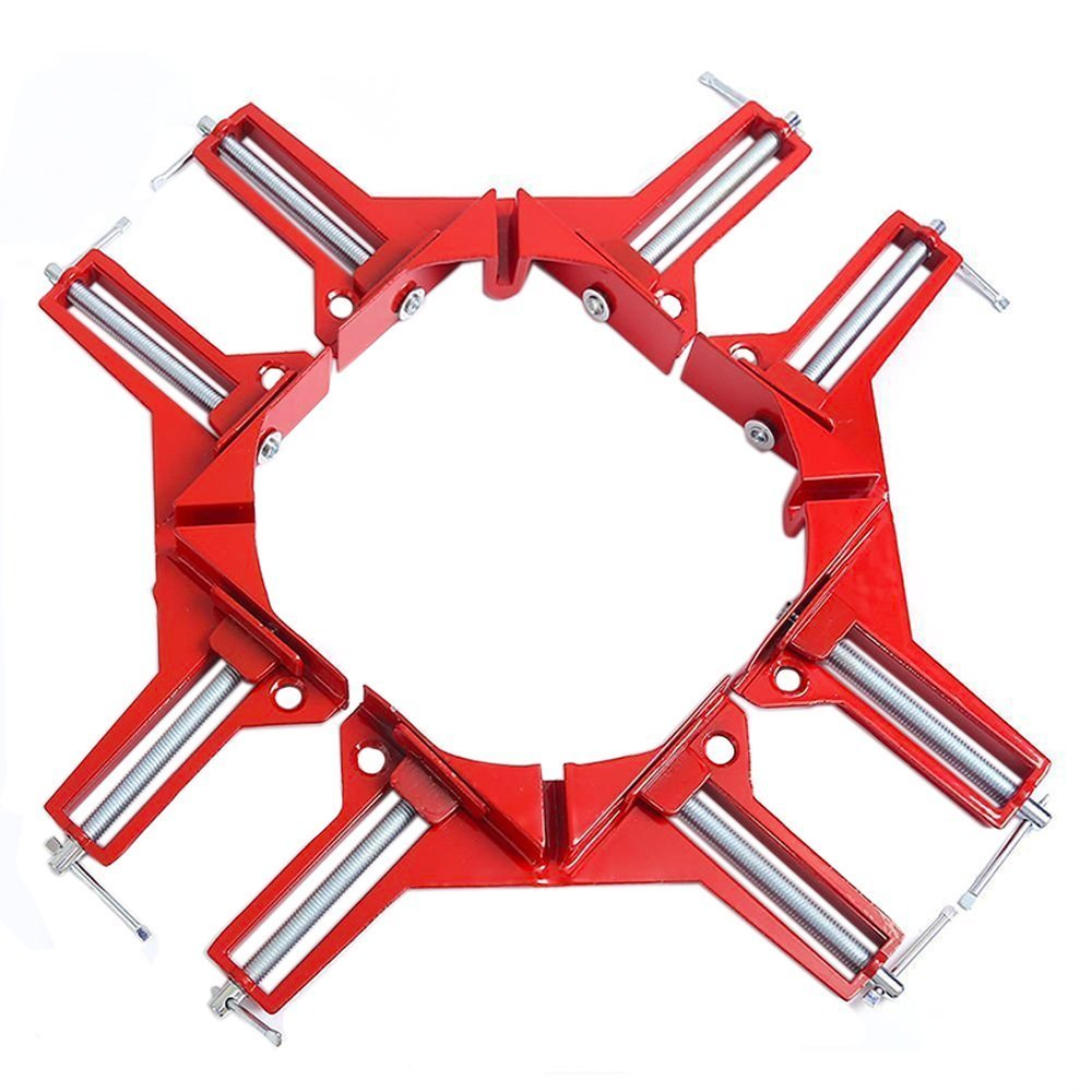 REAMTOP 90 Degrees Right Angle Clamp 100mm Aluminium alloy Corner Clamp Picture Holder Woodworking Holder (4Pcs)