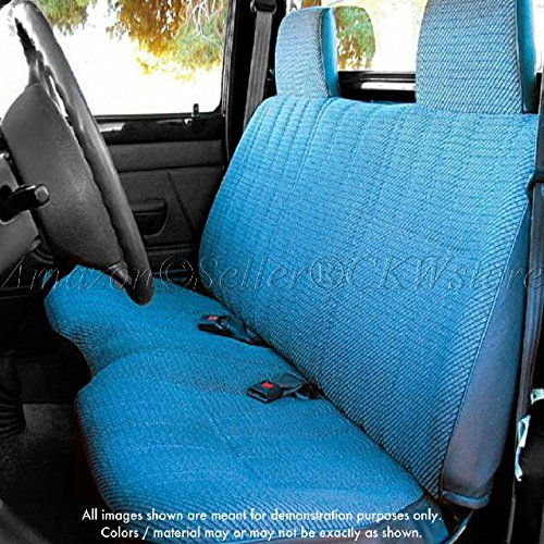 Front Cover Blue Seat (Toyota Pickup Front Solid Bench A25 Seat Cover Triple Stitched 10mm Padding Molded Headrests Seat Belt Cutout Small 2