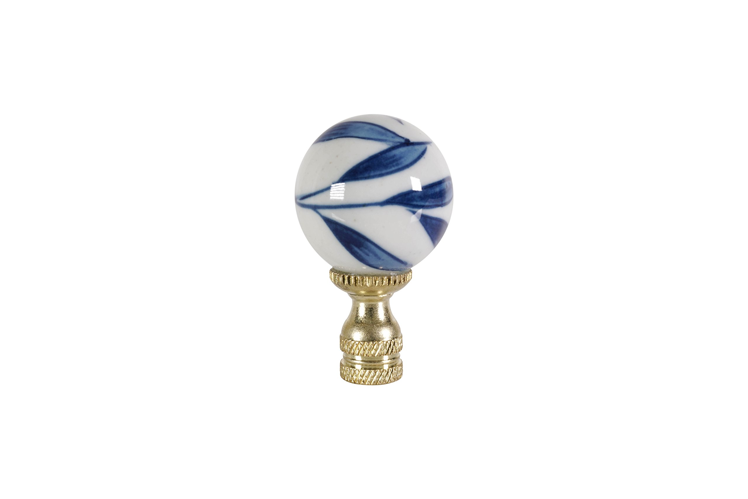 Blue and White Bamboo Leaf Ball Table Lamp Finial 2.5''