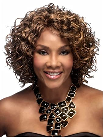 Amazon Com Short Curly Wigs Afro Kinky Wig Brown Highlights Blonde