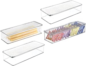 mDesign Stackable Kitchen Pantry Cabinet, Refrigerator/Freezer Food Storage Bin Box Container, with Lid - Holder & Organizer for Packets, Snacks, Fruits, Produce, Pasta, Vegetables - 4 Pack - Clear