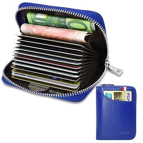 comprare on line f39c2 4523a Porta Carte di Credito per Donna Uomo Genuino del Titolare della Carta di  Credito in Pelle RFID con 13 Ranuras para Tarjetas e 2 Compartimenti per ...