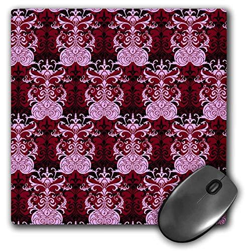 (3dRose Russ Billington Patterns - Pink Red and Black Damask Wallpaper Pattern - Mousepad (mp_241041_1))