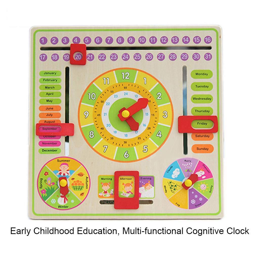 Eruditter Jouets pour Enfants, Tableau Suspendu à Calendrier cognitif Multifonctionnel, Jouet Parent-Enfant d'éducation de la Petite enfance, Jouets de la Petite enfance