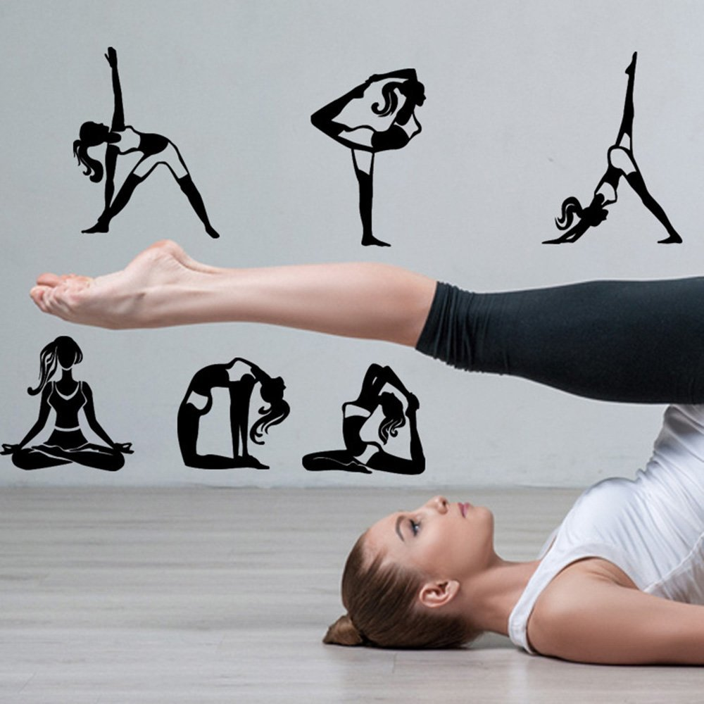 ufengke Chica Negra de Yoga Pegatinas de Pared 9 Piezas de ...