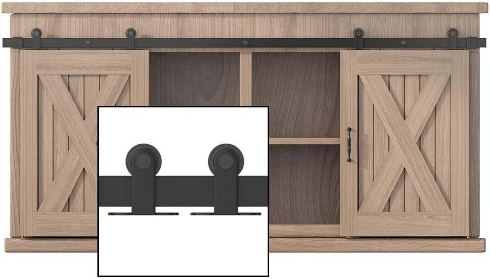 NO Cabinet WINSOON 8FT Top Mounted Super Mini Sliding Barn Door Cabinet Hardware Kit for Double Doors TV Stands Small Wardrobe Cabinets T Shape Hanger