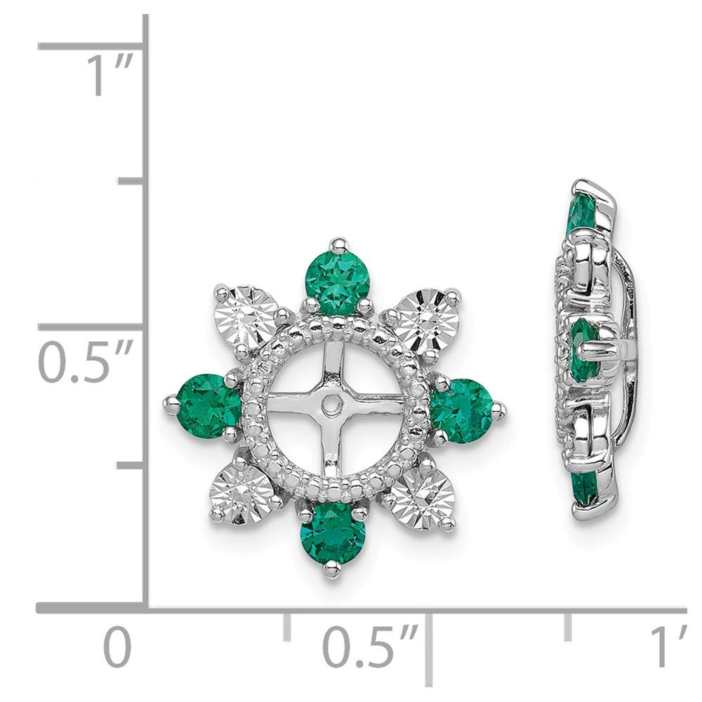 Beautiful Sterling silver 925 sterling Sterling Silver Rhodium Created Emerald Earring Jacket