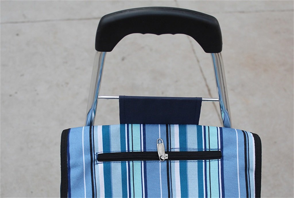 Handcart Folding Shopping Cart Hand Truck Six Rounds Climbing Stairs Trolley Grocery Shopping Trailer Elderly Bag Car Portable Cart Seven Colors Optional 35 Kg Load (Color : A) by Hw Ⓡ Handcart (Image #2)
