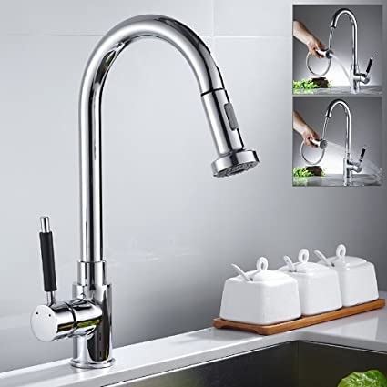 Hotbestus Best Commercial Pull Out Kitchen Faucets with Pull Down Sprayer  Chrome High Arc Single Handle Single Lever Kitchen Sink Faucet Solid Brass  ...