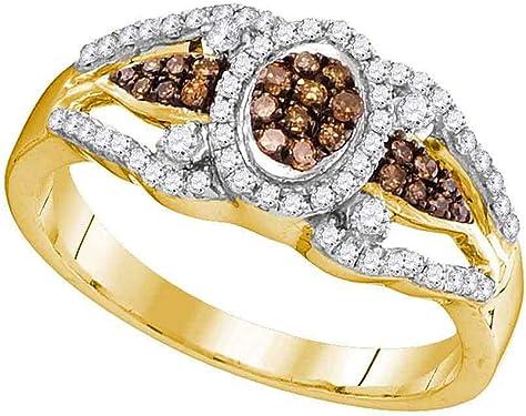 anillo de oro amarillos con diamantes marrones y blancos 10 quilates