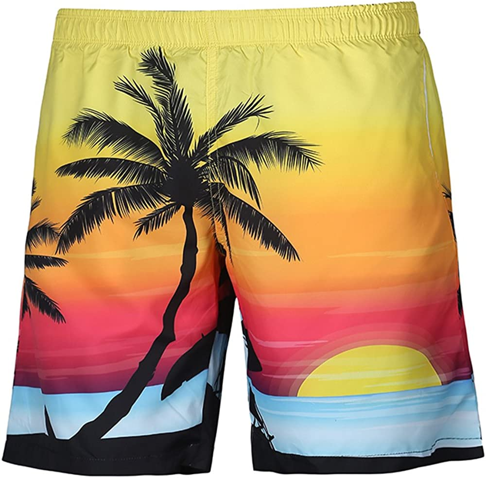 Honeystore Men's 3D Print Beach Boardshorts Tropical Design Swimming Trunks