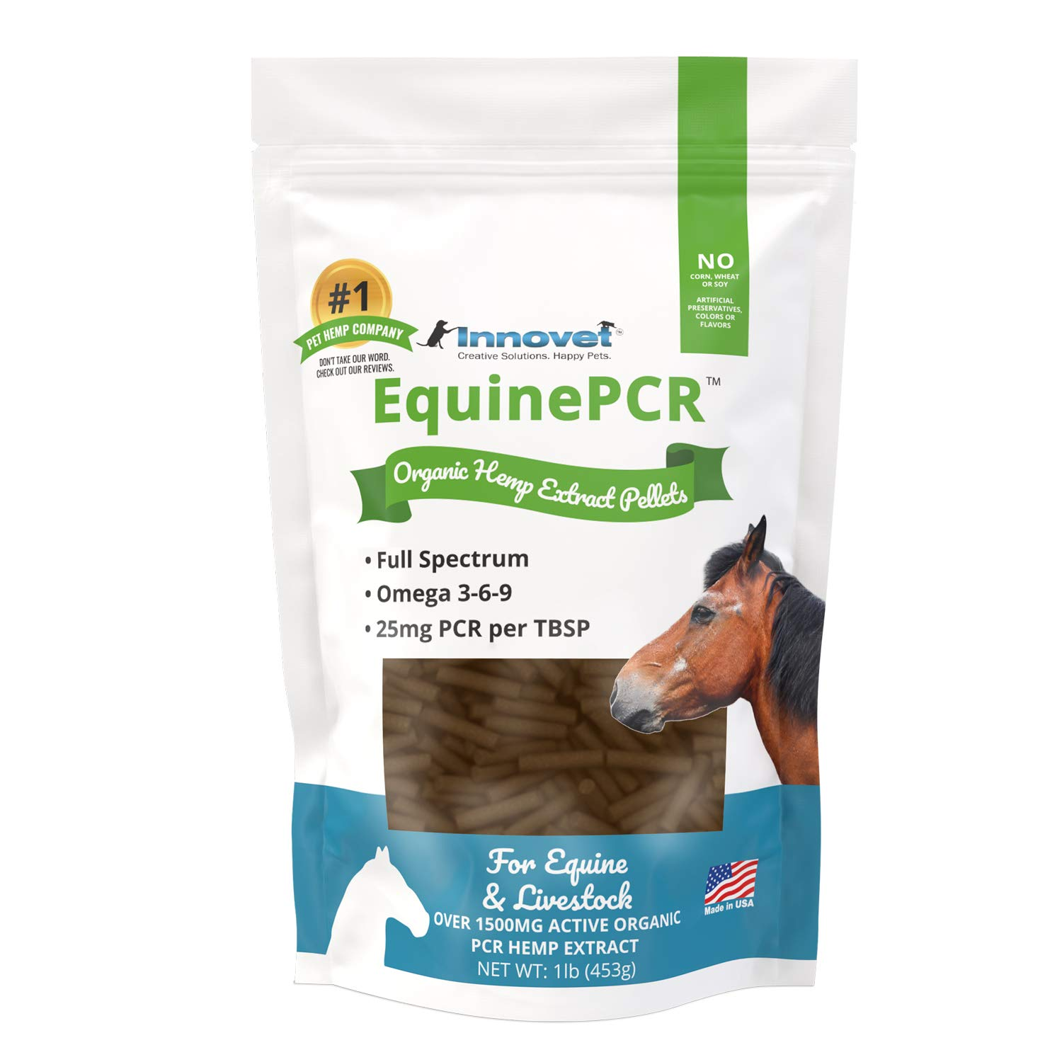 INNOVET Equine PCR Hemp Pellets for Horses - Natural Equine Pellets Relieves Joint Pain & Discomfort | Reduces Stress, Inflammation & Supports Performance - 1 lb Bag by Innovet Pet Products