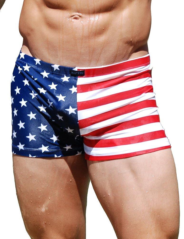 Neptio Men's American Flag Print Midcut Swimsuit NPT-SW102-P