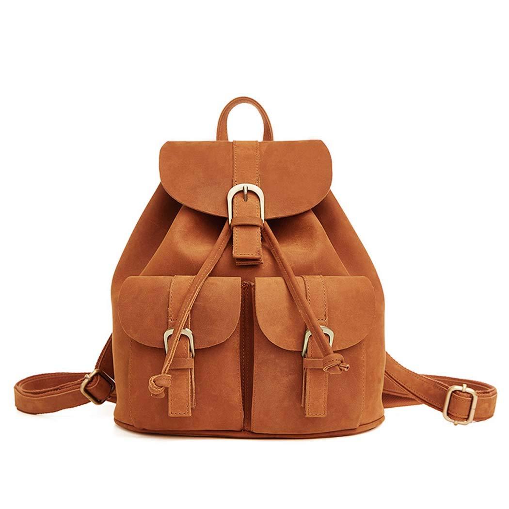 レディースレザーバックパックレトロショルダーバッグトラベル Daypack  Brown B07H3RYRH2