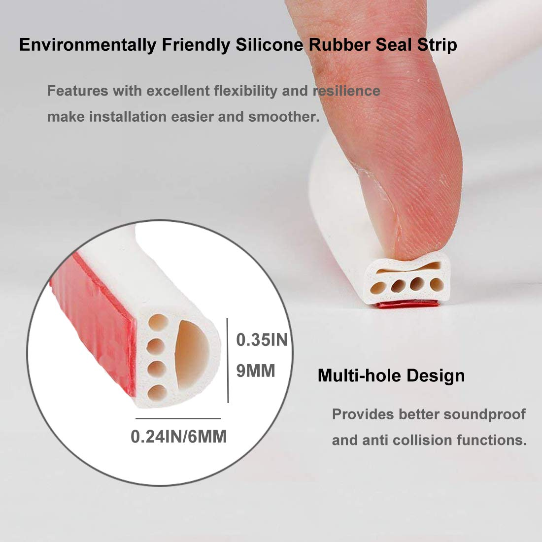 Rubber Seal Weather Strip Multi-Hole Design Door Window Seal Strip Self-Adhesive Draught Excluder Tape Anti-Collision Soundproof Waterproof Dustproof Windproof, 6M (D Type, White)