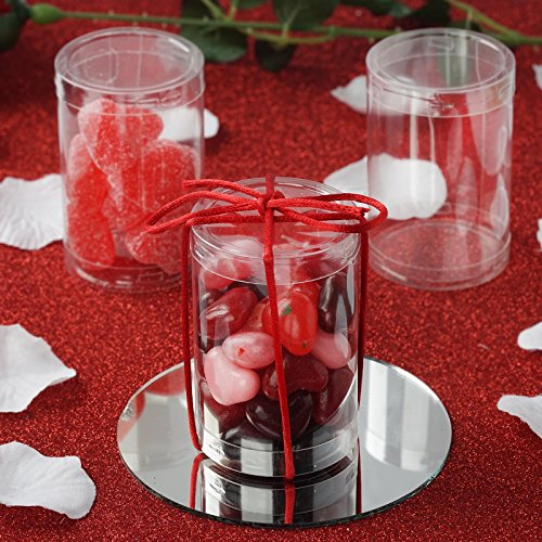 Round Candy Box - BalsaCircle 50 pcs 3-Inch Clear Plastic Round Cylinder Wedding Favor Boxes Party Birthday Candy Gifts Package Decorations Supplies