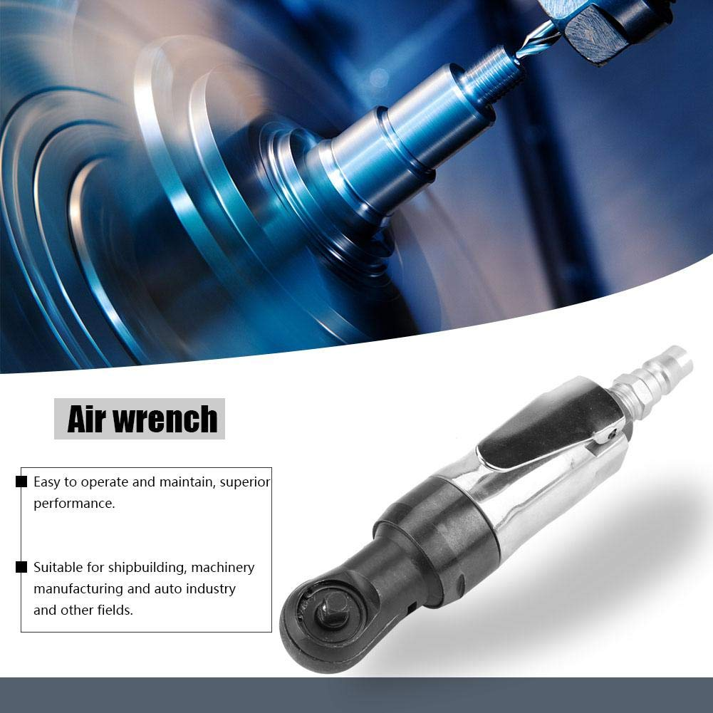 Akozon Air Ratchet Wrench 1//4 3//8 Wrench Nut Fastening Square Drive Straight Impact Shank Pneumatic Air Ratchet Wrench Positive Negative disassembly Tightening Steering 1//4 Inlet Connection 1//4