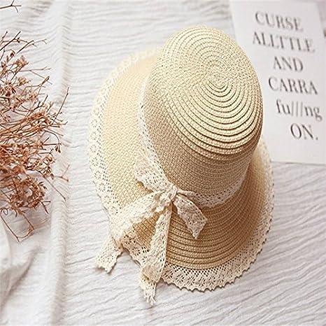 9572f6a8985ba Hosaire 1x Sombreros del Sol Encaje Pajarita Sombrero de Paja para bebé  para Gorras de Visera UPF 50+ Protección UV Verano Playa Gorro Size 48-52cm  (Beige)  ...