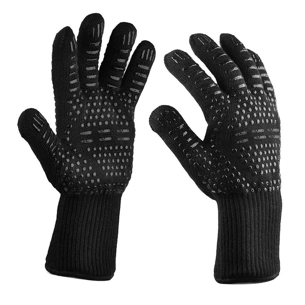 Sasitober 1 Pair Heat Resistant Oven Gloves 932 ° F Realistic BBQ Cooking Gloves for Outdoor Grill (All Black)