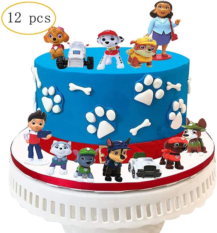 Party Kuchen Dekoration Lieferungen Geburtstags Party liefert Cupcake Figuren ZesNice Paw Dog Patrol Tortenfiguren,Cake Topper Set bestehend aus 12er Paw Dog Patrol MiniFiguren Tortendeko