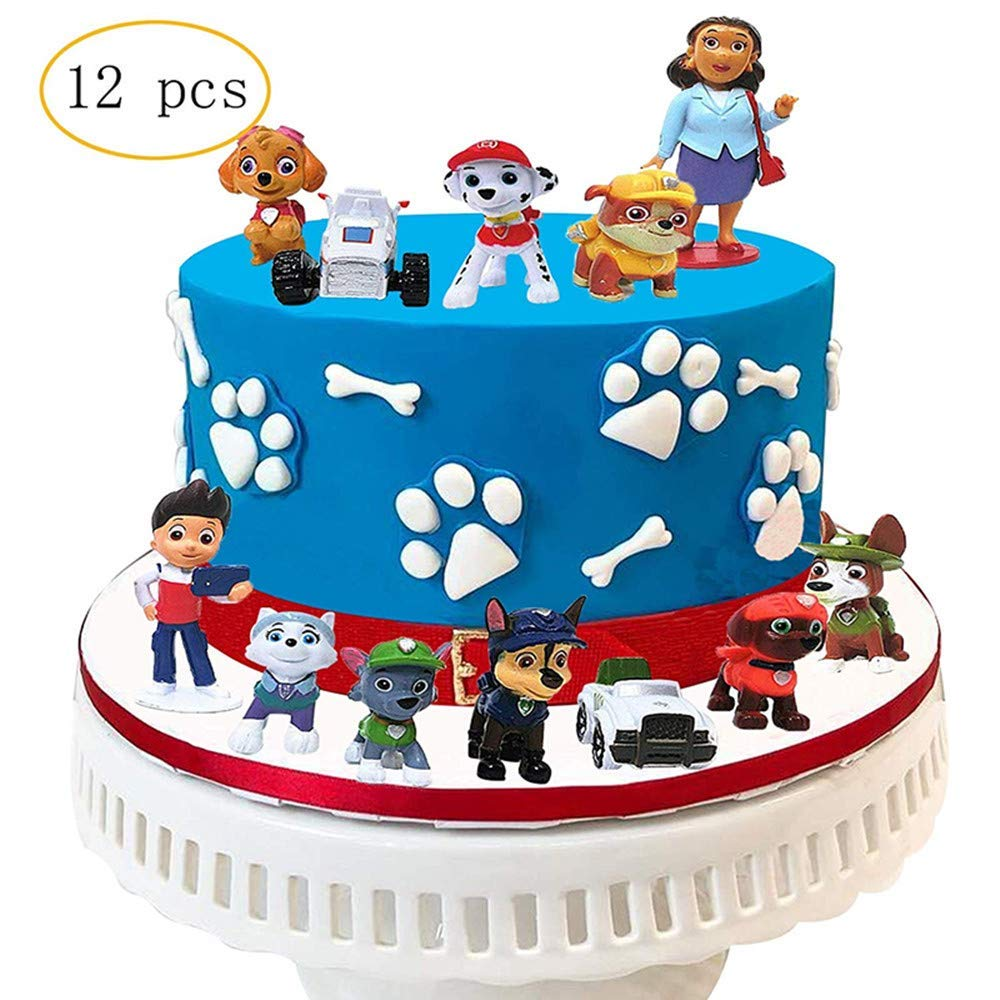 12 PCS Paw Dog Patrol Cake Topper,Birthday Party Cake Supplies by GUHAR