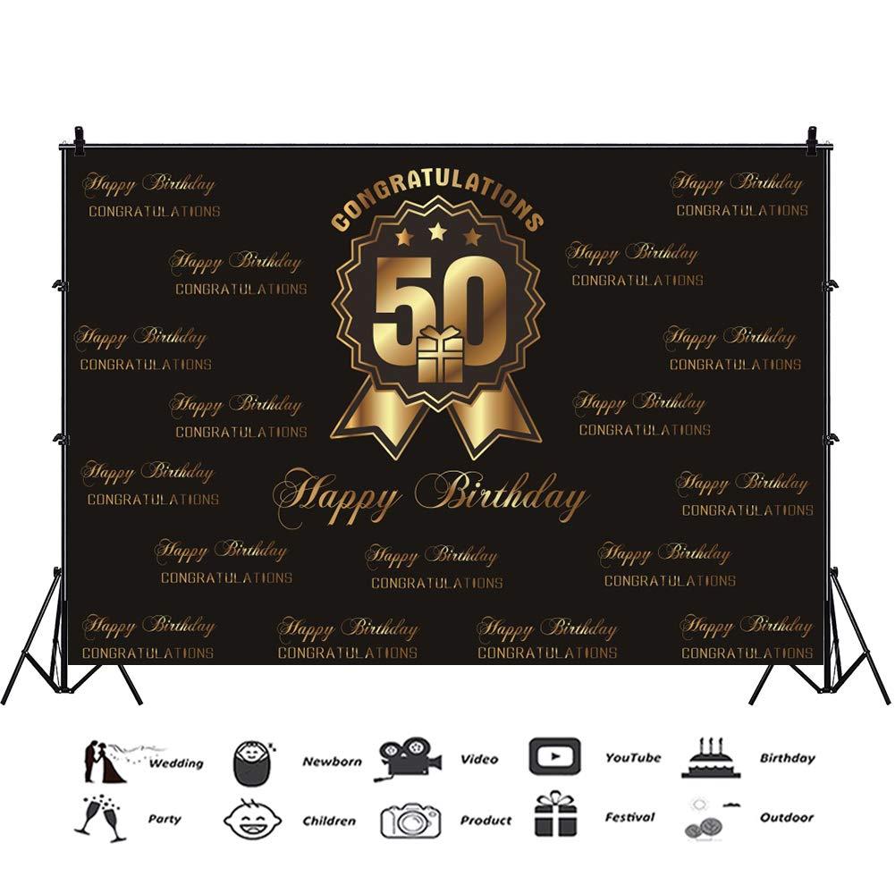 Cassisy 2,2x1,5m Vinilo Cumplea/ños Telon de Fondo Feliz cumplea/ños 60 Aniversario Bandera Sombrero Flecha de Oro Fondos para Fotografia Party Infantil Photo Studio Props Photo Booth