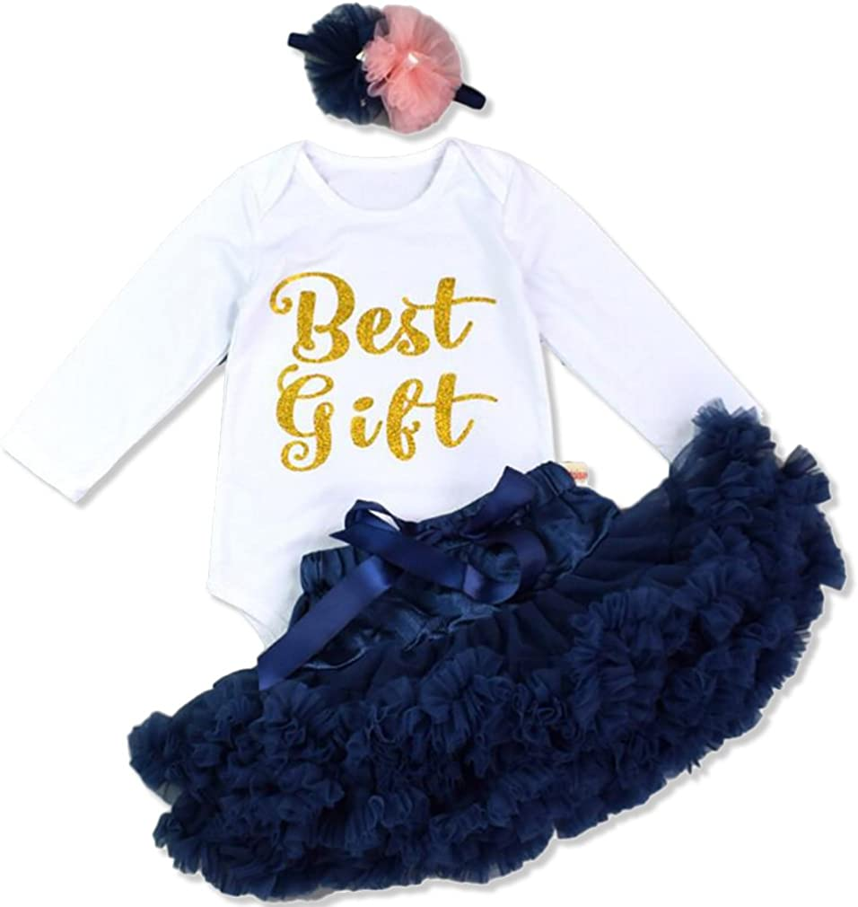 Youngate Baby Girl Print 3pc Costume Party Outfits Bodysuit Headband Ruffle Tutu
