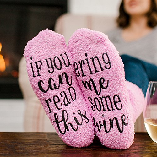 Luxury Wine Socks with Cupcake Gift Packaging: Mothers Day Gifts with If You Can Read This Socks Bring Me Some Wine Phrase - Funny Accessory for Her, Present for Wife, Gifts for Women Under 25 Dollars by cinch! (Image #3)