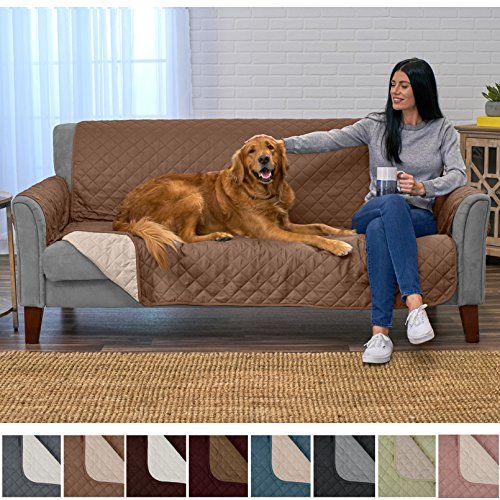 Home Fashion Designs Deluxe Reversible Quilted Furniture Protector and PET PROTECTOR. Two Fresh Looks in One. Perfect for Families with Pets and Kids. By Brand. (Sofa/Couch, (Quilted Couch Covers)