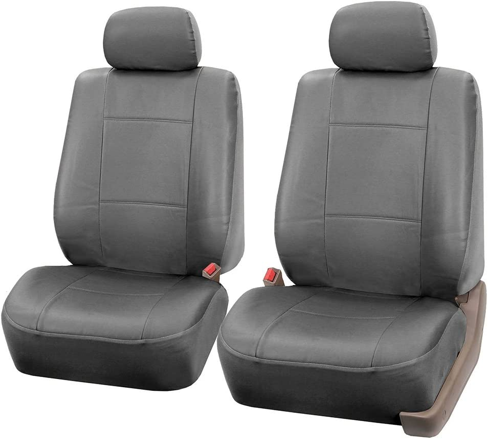 Set of 2 FH Group Universal Fit Front Car Seat Cushion Leatherette with Fabric Red