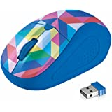 Trust Primo Mouse Ottico, Wireless, Interruttore Integrato, Tasti Premuti, Blue Geometry