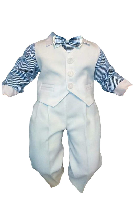 4tlg Wei/ß-Blau K5A Taufanzug Baby Junge Kinder Hochzeit Anz/üge Festanzug