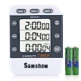 Digital Dual Kitchen Timer, Samshow 3 Channels Count UP/Down Timer, Cooking Timer, Stopwatch, Large Display, Adjustable Volume Alarm with Magnetic Bac